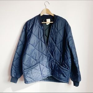 90s navy quilted nylon shell workers jacket